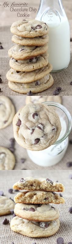Not just any chocolate chip cookies: My favorite chewy chocolate chip cookies. Brown sugar, semi-sweet chocolate chips, chewy, soft wonderfulness! ~American Heritage Cooking #chocolatechipcookie #cookie #baking #recipe #chocolatechip #easy #brownsugar