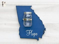 """Georgia State Map Shape Mason Jar Wall Vase or Sconce. Additional States A-K available. 20 Paint Colors. Solid ¾"""" wood cutout. Choice of Word Faith, Hope, Love, Family or Home. - Venue and reception decor (*Amazon Partner-Link)"""