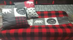 Bear, moose, and lumber jack changing pad cover and pillow.
