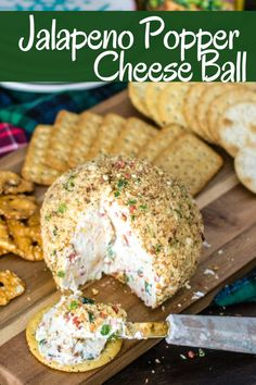 A Jalapeno Popper Cheese Ball is the perfect party appetizer! It's creamy wi… A Jalapeno Popper Cheese Ball is the perfect party appetizer! It's creamy with a little kick and crunch, it's majorly delicious and super easy to make! Jalapeno Poppers, Jalapeno Cheese, Cream Cheese Ball, Cream Cheese Poppers, Finger Food Appetizers, Cheese Appetizers, Easy Appetizers For Party, Party Appetizer Recipes, Food For Parties