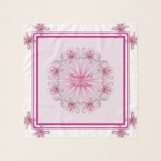 Young Ladies Birthday Pink Square Chiffon Scarf - customizable diy