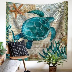 Mediterranean Sea Turtle Tapestry Wall Hanging Boho Hippie Home Decor Sliding Curtains, Dark Curtains, Blanket On Wall, Horse Pattern, Mediterranean Home Decor, Nautical Design, Hippie Home Decor, Touch Of Gold, Graphic Patterns