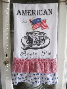 Flour Sack Kitchen Towel American as Apple by SweetMagnoliasFarm, $16.00