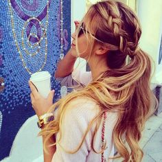 Long hair with braid