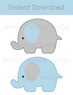 Printable Elephant Decorations Baby Shower Decoration Birthday Decor Light Blue And Grey EC01