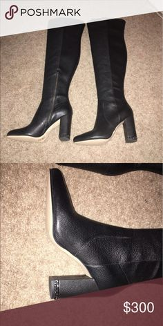 Michael Kors over the knee boots These are brand new. I bought them and they have just been sitting in the closet untouched. They're gorgeous, black leather, with a little chain detail around the heel. Heel height is about 3-3.5 inches. Willing to consider reasonable offers. Michael Kors Shoes Over the Knee Boots