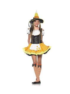 Candy Corn Witch Costume Candy Korn Witch Teen Costume A Classic Halloween Treat ! Includes: Dress with candy corn applique, hat, and stockings. Teen Girl Costumes, Halloween Costumes For Teens Girls, Halloween Costumes For Girls, Costumes For Women, Halloween Ideas, Costume Halloween, Halloween Stuff, Halloween Party, Halloween Customs