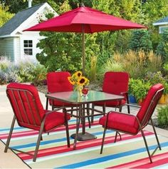 Patio 5-Piece Dining Set Outdoor Wrought Iron Seats 4 Table Red   #Mainstays