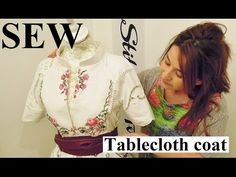 DIY Refashion Upcycle table cloth into a coat inspired by Dolce and Gabbana out of a table cloth by Stitchless TV. Sewing Patterns Free, Free Sewing, Clothing Patterns, Sewing Tutorials, Sewing Projects, Diy Clothing, Sewing Clothes, Recycled Clothing, Couture