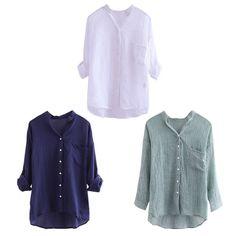 Women Casual Loose Linen Cotton 3/4 Sleeve Women T-shirts Tops Blouses XL