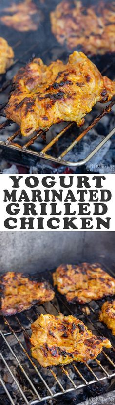 This Yogurt Marinated Grilled Chicken Thighs Recipe Will Be Your Favorite For Barbecue Season. Yogurt Marinade Keeps The Chicken Juicy And Flavorful. Via Happyfoodstube Marinated Grilled Chicken, Grilled Chicken Thighs, Chicken Thigh Recipes, Best Chicken Recipes, Turkey Recipes, Grilling Recipes, Cooking Recipes, Healthy Recipes, Cooking Food