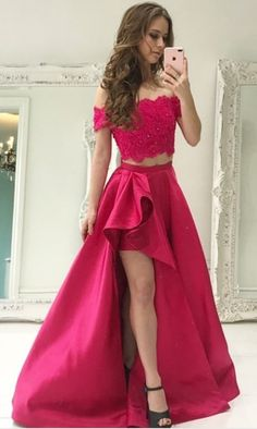 432bb0a0e6b8 Rose Pink Boat Neck Lace Two Piece Prom Dresses,Leg Slit Beaded Satin Prom  Gown,Long Homecoming Dresses
