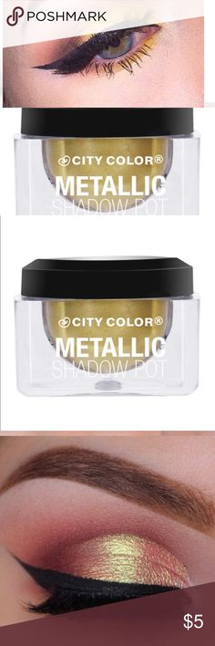 CITY COLOR Metallic Shadow Pot Shooting CITY COLOR Metallic Shadow Pot Shooting.                    CITY COLOR Metallic Shadow Pot - Shooting Star Metallic Shadow Pots are a thick, yet lightweight cream shadow packed with serious pigmentation. Highly reflective with an iridescent shine, this whipped formula is easy to apply and blends like a dream. Available in six lustrous shades. city color Makeup Eyeshadow
