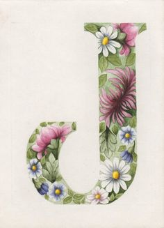 So soft and beautiful!  Original painting 'Floral Letter J' by Colleen Olson.