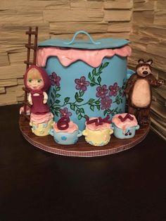 Masha and the bear - cake by Geri Birthday Cake Girls, 3rd Birthday, Masha And The Bear, Bear Party, Bear Cakes, Girl Cakes, Daily Inspiration, Cake Decorating, Cupcakes