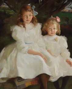 Frank Weston Benson (1862-1951) Two Little Girls signed and dated 'F.W. Benson/1903.' (lower left) oil on canvas 40 x 32 in. (101.6 x 81.3 cm.)