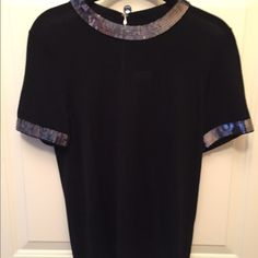NWT black Kate Spade davey sweater NWT Kate Spade davey sweater in black with gunmetal sequins and silver hardware.  100% wool.  make me an offer smoke free, per free home.  No PP or trades. kate spade Sweaters Crew & Scoop Necks