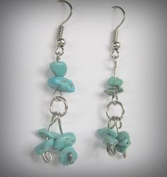 Turquoise Chip Earrings Gemstone Turquoise by IsleOfCraftin, $10.00