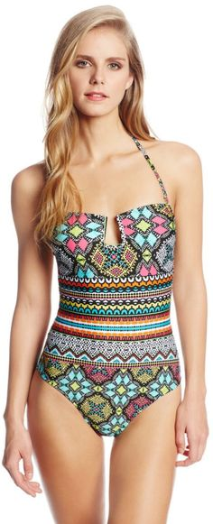Kenneth Cole Reaction Women's Off The Beaten Path Banded One Piece Swimsuit.