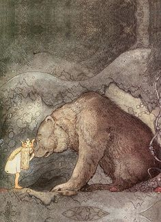 She kissed the bear on the nose   (c. 1910 by John Bauer) (great print for bedroom art collection of beautiful illustrations of night time magic)