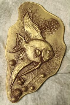 Wall sculpture Bas relief Angel fish in water seashells and water plants Original art Home decor Office decor Unique gift Gold Silver tile by SyzymStudio on Etsy