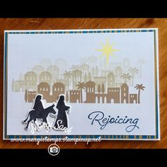 handmade Christmas card ... Bethlehem Night  suite ... luv how she stamped off the village buildings fading in the distance as she moved uphill ... Stampin' Up!