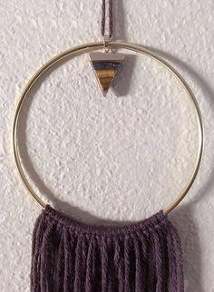 Triangle Point Minimalist Dreamcatcher Wood & Gold Macrame Decor Neutral Earthtone Fringe One of a kind item.
