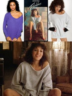 13960182c1767 Flashdance (1983) Jennifer Beals  oversized sweatshirts become a huge fashion  trend.