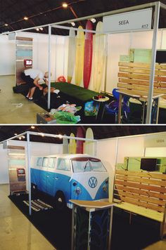SEEA BABES sales booth. Love the inflatable VW bus!