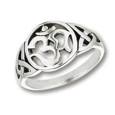 Sterling Silver Celtic Om Band Ring Sizes: 6, 7, 8, 9