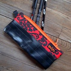 bike inner tube into pencil pouch