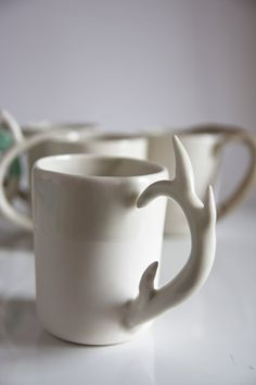 unique coffee mug.gift for dad, coffe cup for him, for men. deer antler handle. white porcelain drinking cup. karoArt