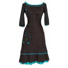 Ecouture by Lund -  Carmen - kjole i økologisk, håndprintet bomuldssatin