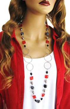 Black and Red Necklace, Long Necklace, Beaded Necklace, Red Beaded, Black…