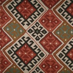 LF1702C/1 - Bazaar - This gorgeous Kilim inspired linen fabric has terracotta & khaki tones.