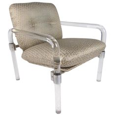 For Sale on - This striking designer made lounge chair features shapely Lucite frame with steel hardware complimented by beautiful vintage fabric. Signed by the designer Lucite Chairs, Mid Century Armchair, Modern Armchair, Mid Century Style, Vintage Fabrics, Seat Cushions, Outdoor Chairs, Mid-century Modern, Home Furniture