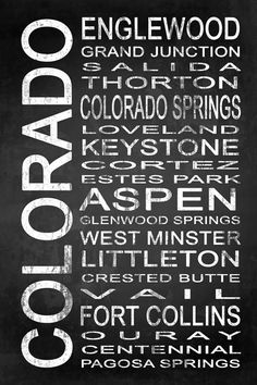 Subway Colorado State 2 by Melissa Smith | Urban Art District.  Modern subway sign chalkboard typography features destinations in Colorado state such as: Englewood, Grand Junction, Salida, Thorton, Colorado Springs, Loveland, Keystone, Cortez, Estes Park, Aspen, Glenwood Springs, West Minster, Littleton, Crested Butte, Vail, Fort Collins, Ouray, Centennial, Pagosa Springs  Embrace your love for Colorado and add some urban sophistication to compliment your modern style with a stylish subway…