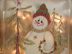 Lighted Glass Block Snowman. Need to look for these Pre Drilled Glass Blocks at Hobby Lobby.