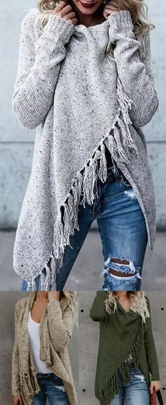 H-line Long Sleeve Plain Knitted Cardigan Poncho Pullover, Oversized Pullover, Poncho Sweater, Cardigan Sweaters For Women, Casual Sweaters, Sweater Coats, Fringe Cardigan, Long Cardigan, Poncho Cape