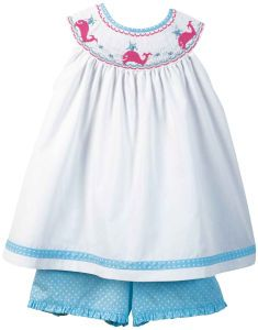 Orient Expressed Smocked Pink Whales Set! The shortall that coordinated is green/turquoise and adorable, too!
