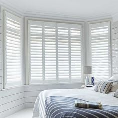 Full Height Boston Pure White Craft Wood Shutter in White. This Craft Wood Shutter includes guarantee and child safety features. Blinds For Large Windows, Blinds For Windows Living Rooms, Bay Window Living Room, Living Room White, Home Living Room, Living Room Decor, Bay Window Shutters, Curtains With Plantation Shutters, Bay Window Bedroom