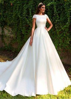 Buy discount Romantic Tulle & Satin Bateau Neckline A-Line Wedding Dresses With Lace Appliques at Dressilyme.com