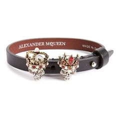 Women's Alexander Mcqueen King & Queen Skull Bracelet (€515) ❤ liked on Polyvore featuring jewelry, bracelets, black, skull bangle, leather crown, alexander mcqueen, crown jewelry and skull jewelry