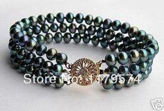 hot new fashion bracelet 2015 4 Row 3 Rows AA+ Black Akoya Cultured Pearl Bracelet beads jewelry making Strand Bracelet, Pearl Bracelet, Bangle Bracelets, Bangles, Jewelry Trends, Jewelry Accessories, New Mode, Pearl Chain, Boho