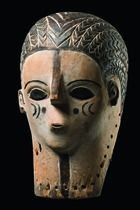 Songe/Zela femle mask - many ethnic groups female masks are said to dance in conjunction with animal masks. This is true among the neighbouring Tabwa/Rungu, among the Chokwe and Lunda, as well as among the Luba/Hemba where we find the combination of ideal female mask and buffalo mask.  H: 34 cm    Read more: http://www.tribal-art-auktion.de/en/catalogue183/d10_191/#o3035853#ixzz3mkPP5ug6