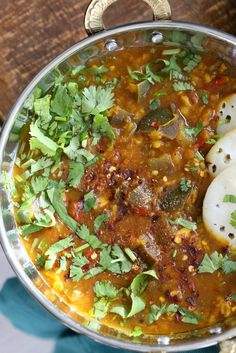 Eggplant Sambar Recipe - Indian Yellow Lentil Tamarind Dal. Toor Dal Sambar with Eggplant or other seasonal veggies. Instant Pot or Saucepan Vegan Gluten-free Soy-free Nut-free Recipe | VeganRicha.com