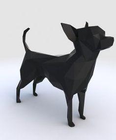 Chihuahua - Arquitetura - Interiores - Esculturas - Arte - Design - Casa - Quarto - Cozinha - Escritório - Pássaros - Geométricos Leão Geométrico - Adorno - Sala - Decoração - Decor - Home - Dudecor