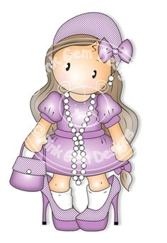 Digital Digi Stamp Dress Up  Chloe - Girls Birthday Card, Party  Invitatations etc