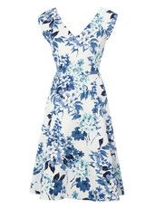 Blue Floral Sweetheart Neck Prom Dress