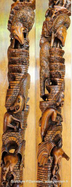 Détails des animaux descendant de l' Arche en tournant autour du Fût..... Sculpture Pierre Damiean. Site: www.pierdam.fr